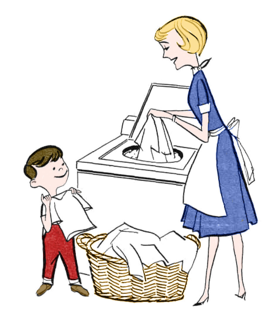 Kids helping clipart graphic black and white download Retro Clip Art - Laundry Day - The Graphics Fairy graphic black and white download