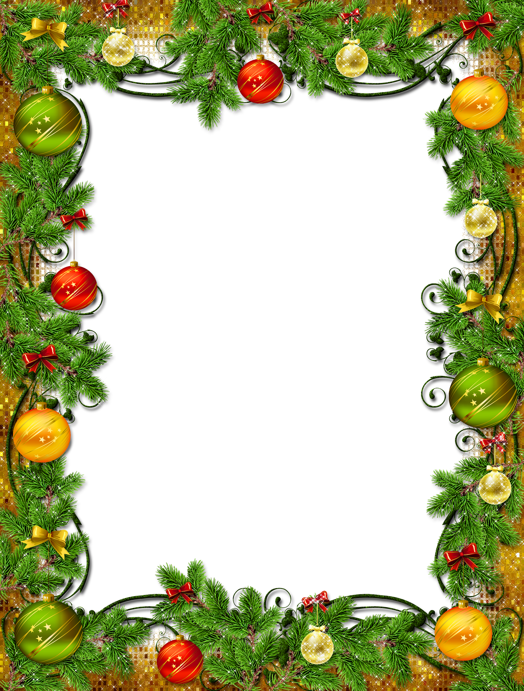 Vintage holiday border clipart clip art Christmas frame with ornaments and pine | Clip Art Holiday ... clip art