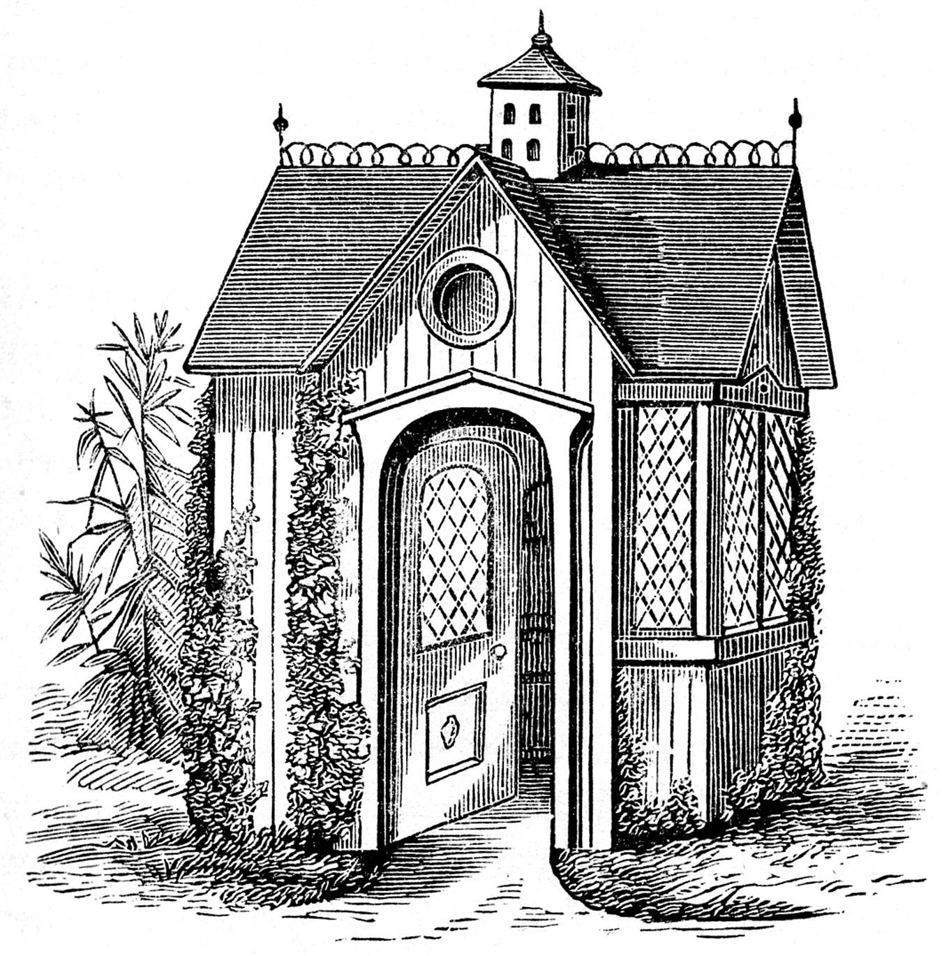 Vintage home clipart clipart stock Vintage Clip Art - Victorian Garden House - The Graphics Fairy clipart stock