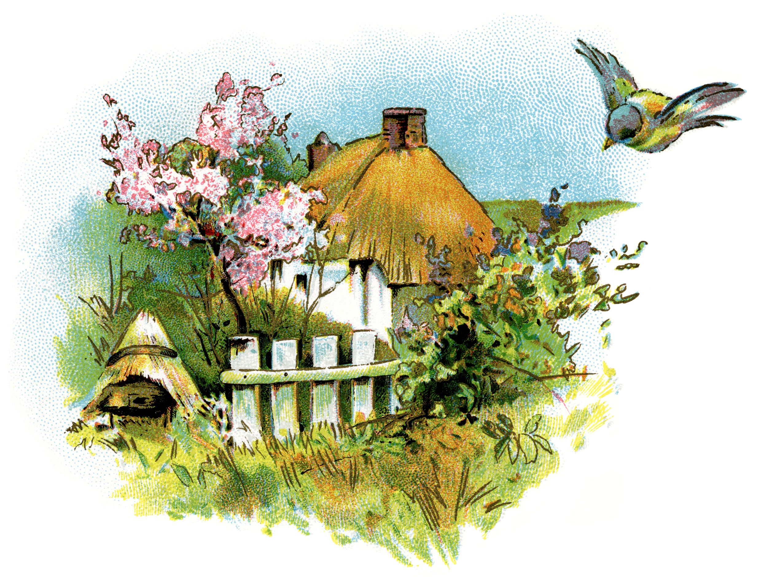 Vintage home clipart jpg black and white small country cottage clip art, thatched roof cottage ... jpg black and white
