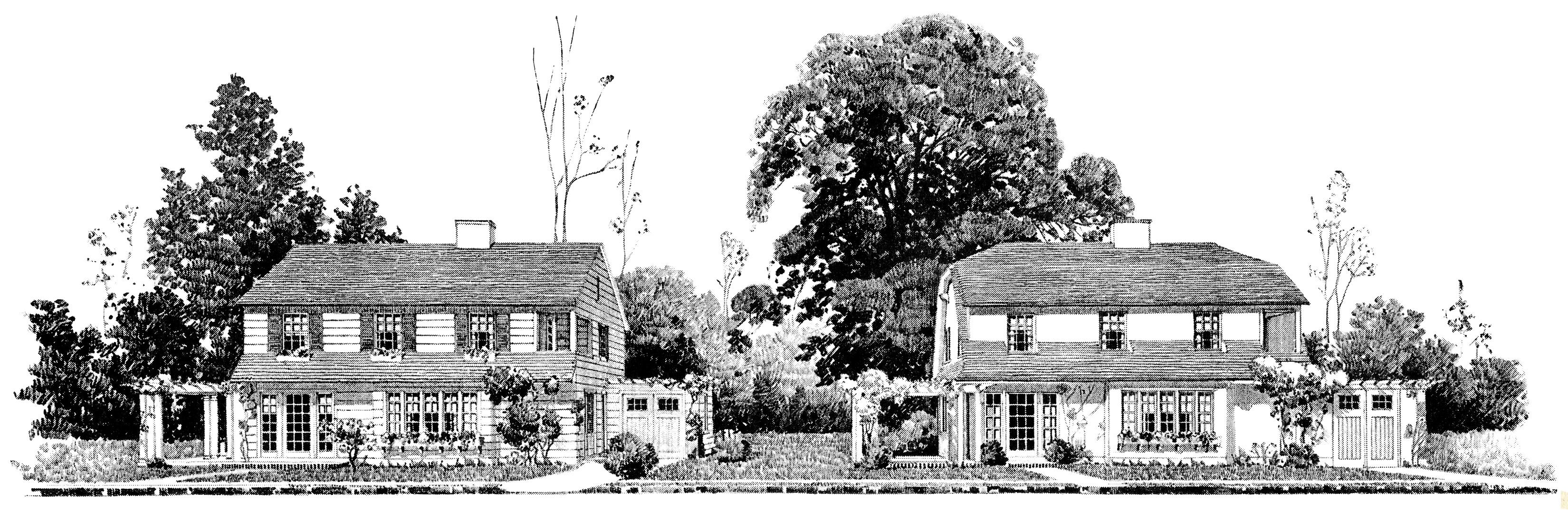 Vintage home clipart vector download Vintage Homes with Attached Garages - Old Design Shop Blog vector download