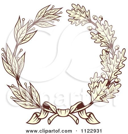 Vintage image sepia clipart picture freeuse download Clipart Of A Vintage Sepia Oak And Laurel Wreath 1 - Royalty ... picture freeuse download