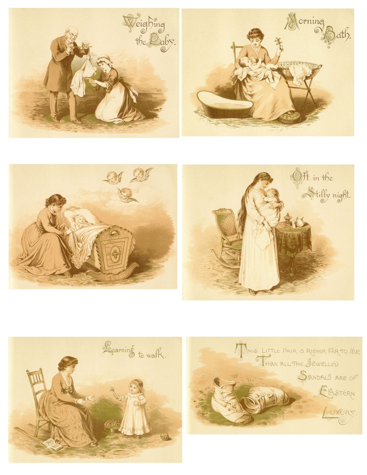 Vintage image sepia clipart graphic black and white Baby Clip Art: Vintage Baby Graphic From Victorian Baby Book ... graphic black and white