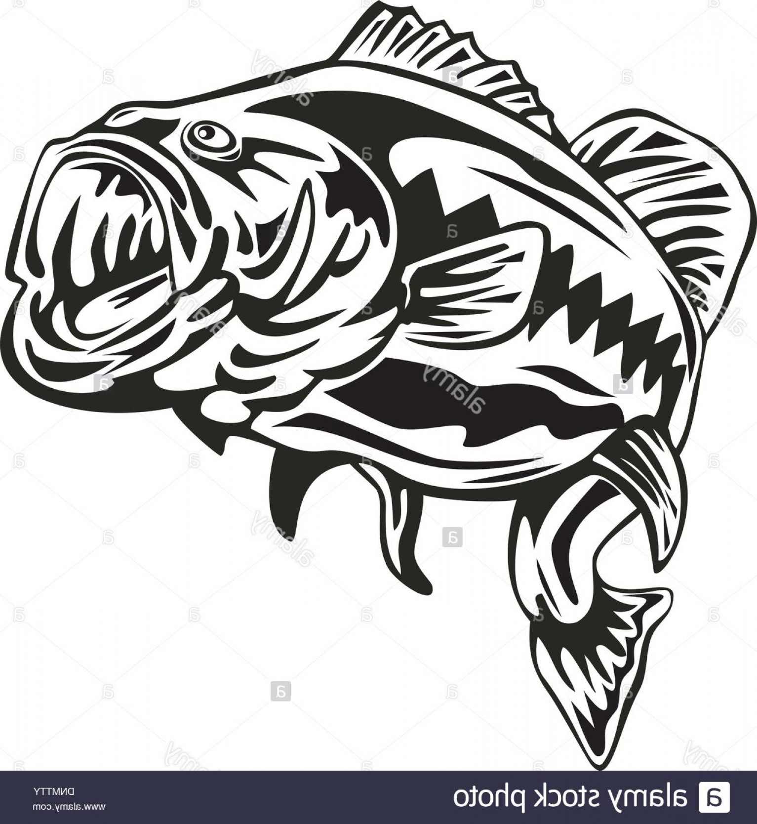 Vintage jumping bass clipart banner black and white stock Illustration Of A Largemouth Bass Jumping Done In Retro ... banner black and white stock