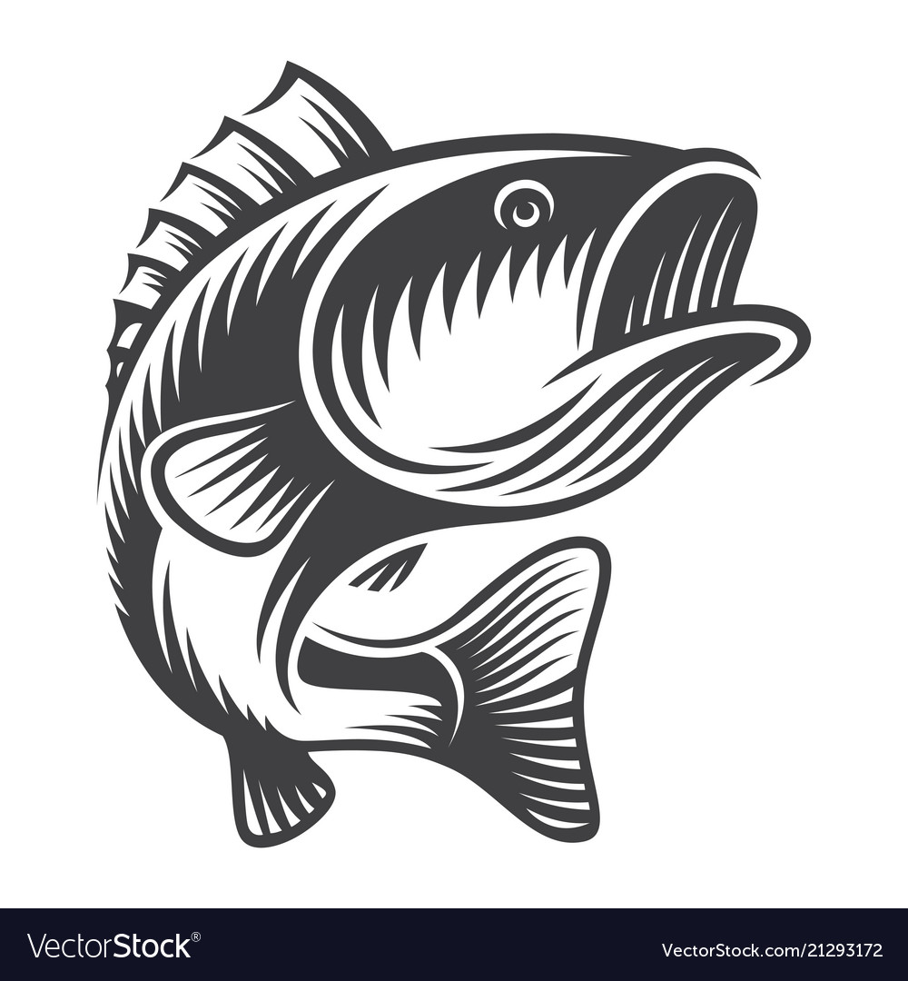 Vintage jumping bass clipart jpg library Vintage bass fish concept jpg library