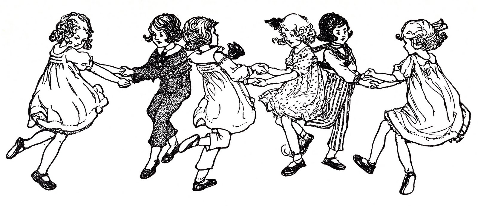 Vintage kids bug clipart picture freeuse stock Vintage Image - Children Dancing - Swedish Song - The ... picture freeuse stock