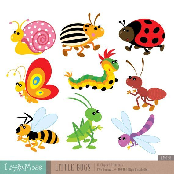 Vintage kids bug clipart black and white library Little Bugs Digital Clipart | Products | Clip art, Bullet ... black and white library