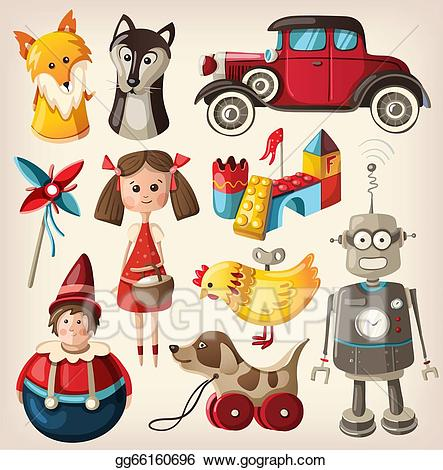 Vintage3 christmas toys clipart picture download Stock Illustration - Set of colorful vintage toys. Clipart ... picture download