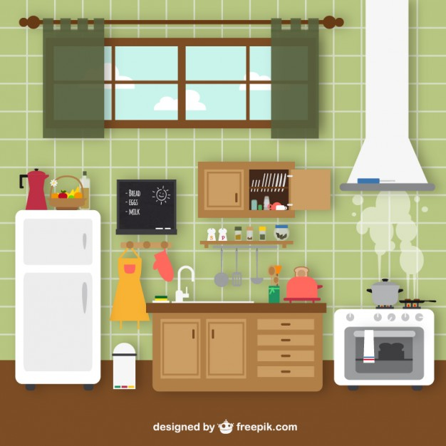 Vintage kitchen clipart yellow image royalty free download Retro kitchen Vector | Free Download image royalty free download
