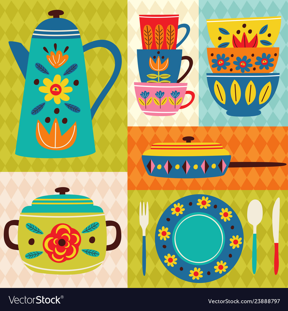 Vintage kitchen clipart yellow banner library stock Poster vintage kitchen banner library stock