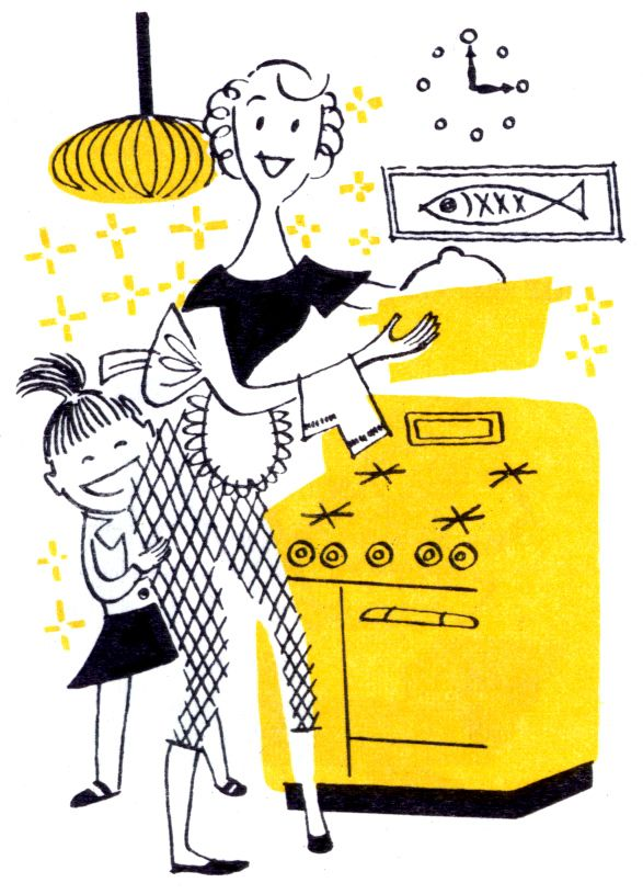 Vintage kitchen clipart yellow clip library library Housewife clip art. | transfer to in 2019 | Retro ... clip library library
