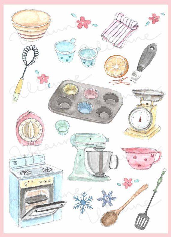 Vintage kitchen prints clipart graphic download CLIP ART- Watercolor Vintage Baking Accessories Set. 20 ... graphic download