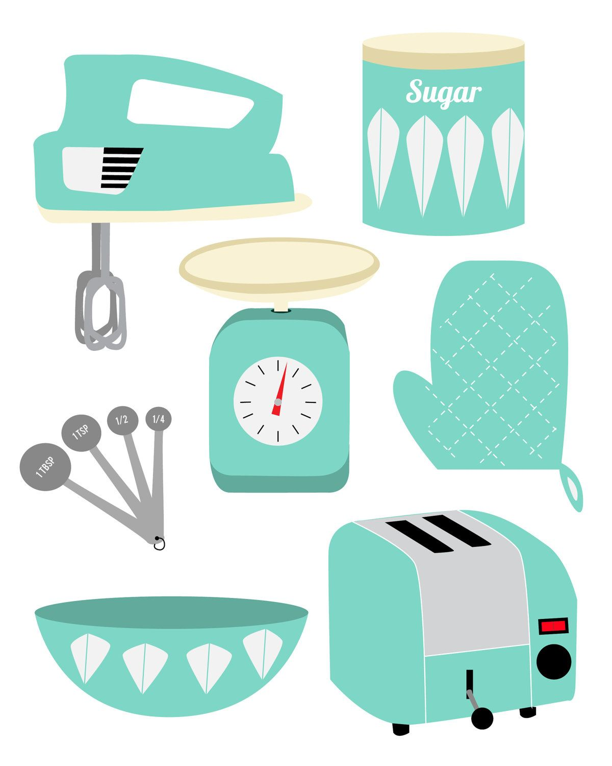 Vintage kitchen prints clipart vector free stock Retro Kitchen.... | Cookbook *** Retro Style | Kitchen ... vector free stock