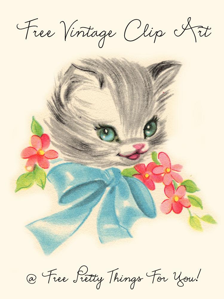 Vintage kitten clipart clip art freeuse library ClipArt: Free Vintage Kitty Image - Free Pretty Things For You clip art freeuse library