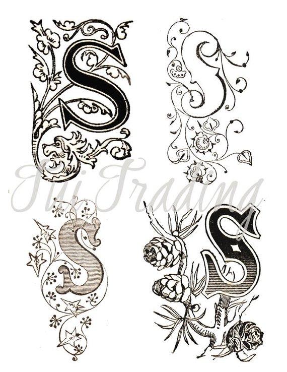 Vintage lace clipart alphabet svg free stock Initial S, Digital Letters, Flourish Clipart, Antique ... svg free stock
