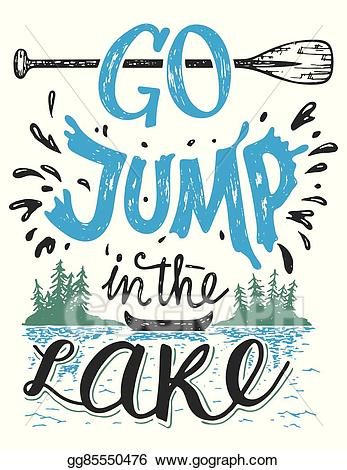 Vintage lake clipart image library download Vector Clipart - Go jump in the lake house decor sign ... image library download