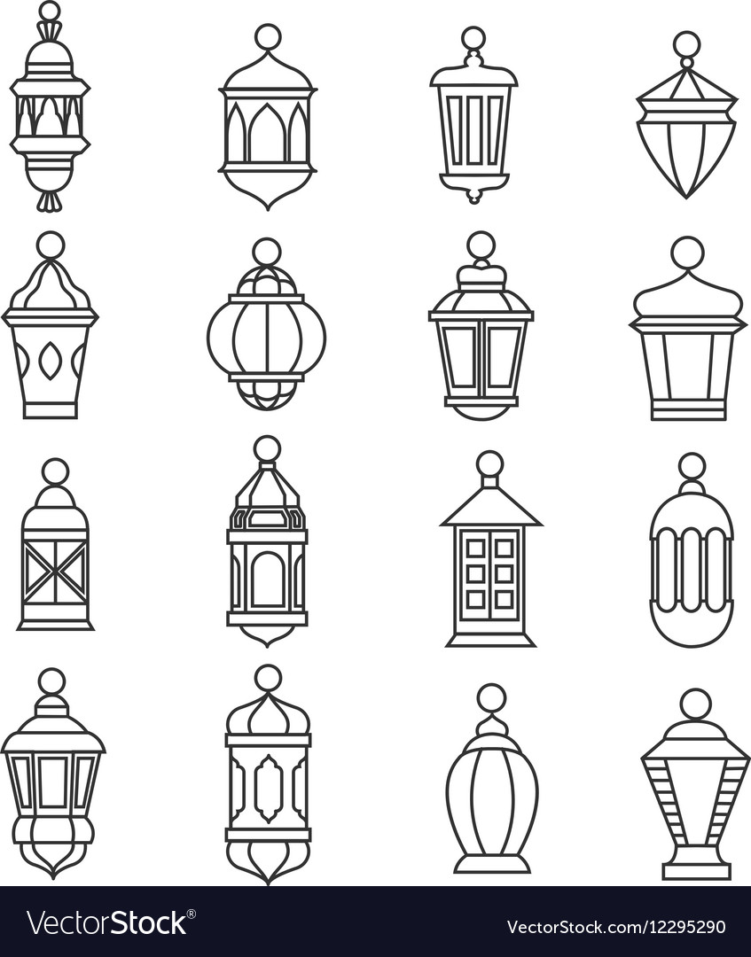 Vintage lantern free clipart graphic freeuse library Ramadan vintage lantern linear icons graphic freeuse library
