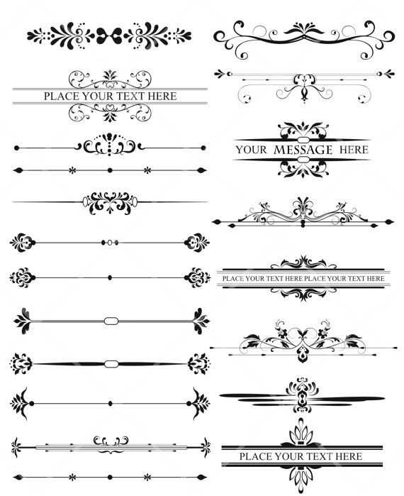 Vintage lines clipart graphic free 19 Digital Borders Frames Leaves Retro Ornate Vintage ... graphic free