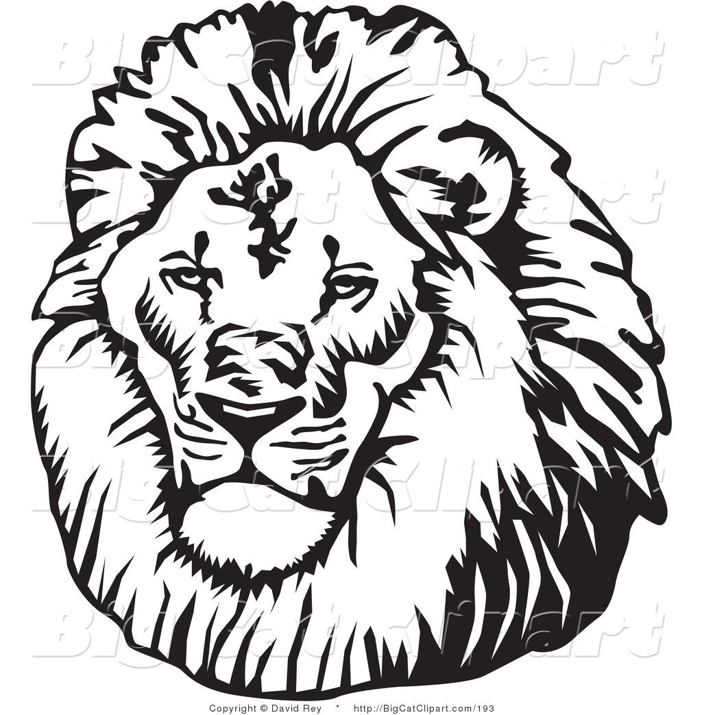 Vintage lion head clipart
