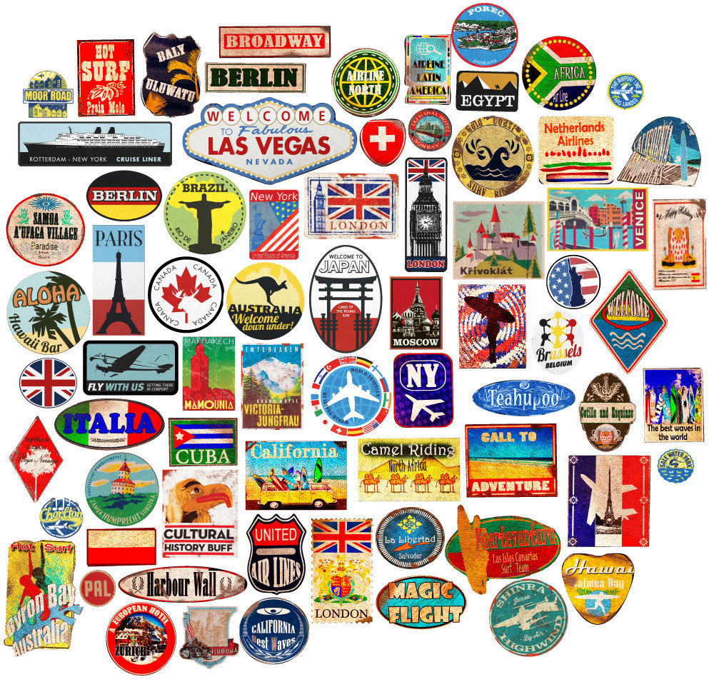 Vintage luggage stickers clipart graphic library stock Luggage stickers suitcase patches vintage travel labels retro style vinyl  decals graphic library stock