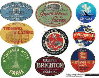 Vintage luggage stickers clipart jpg free library Travel Luggage Labels Clipart - Retro Digital Printable ... jpg free library