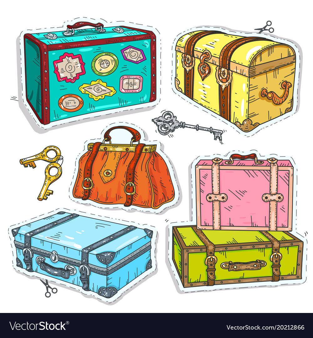 Vintage luggage stickers clipart clip art library stock Colorful sticker set retro luggage old vintage clip art library stock