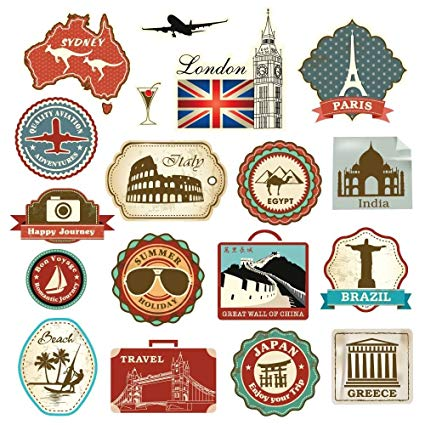 Oldtime european travel stickers on suitcases clipart banner black and white download Amazon.com: Retro Vintage Travel Suitcase Stickers - Set of ... banner black and white download