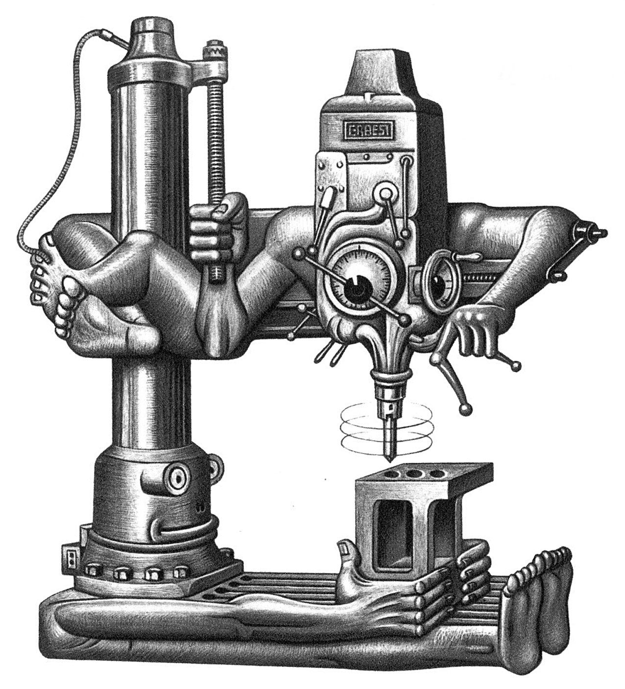 Vintage machinist tools clipart graphic free radial drill | Love! Boris Artzybasheff in 2019 | Cnc ... graphic free