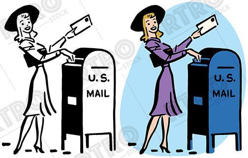 Vintage mail clipart picture A woman drops a letter into a mailbox vintage retro clipart ... picture