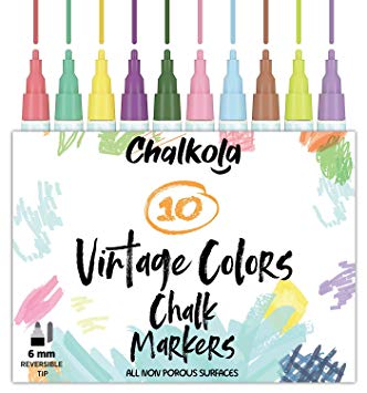 Vintage makers mark hand and chisel clipart vector royalty free Liquid Chalk Pens for Chalkboards (10 Vintage Colors) | Kid Safe,  Non-Toxic, Dustless & Erasable | 6mm Reversible Bold & Chisel Nib vector royalty free
