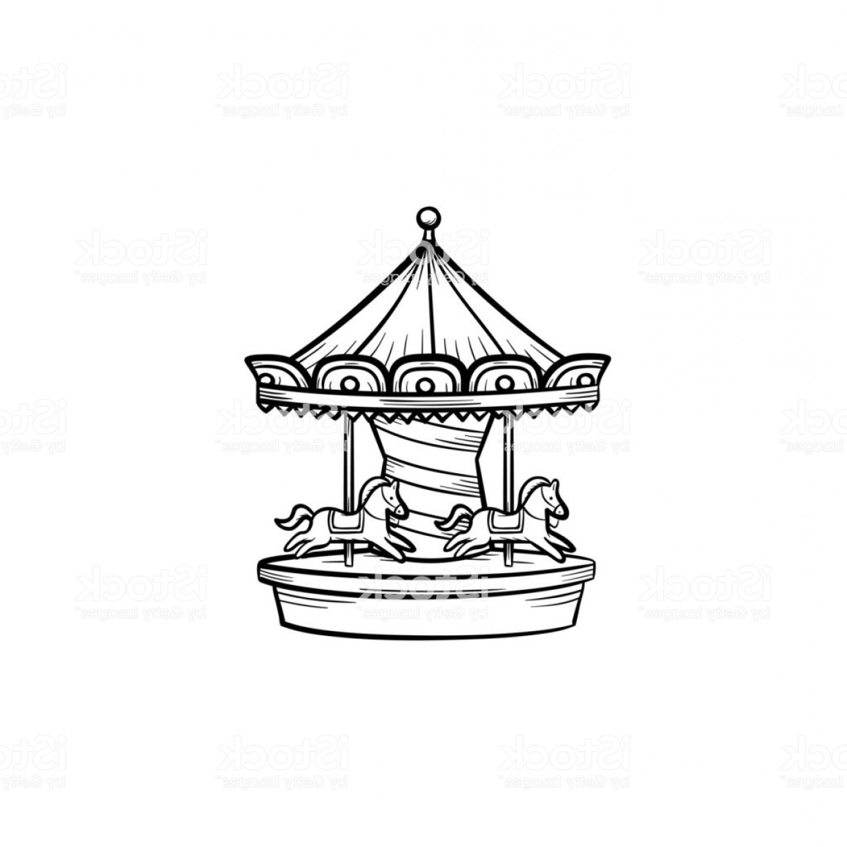 Vintage merry go round clipart svg royalty free stock Merry Go Round Carousel Hand Drawn Outline Doodle Icon Gm ... svg royalty free stock