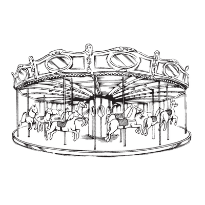 Vintage merry go round clipart clip black and white download Merry Go Round Black and White Drawing transparent PNG ... clip black and white download