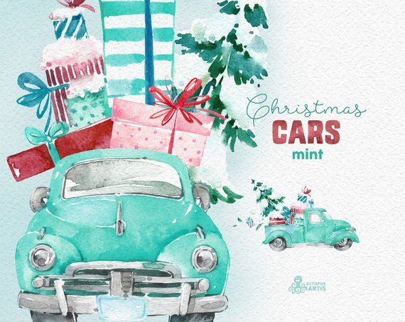Vintage mint holiday truck clipart clip royalty free Christmas Cars Mint. Watercolor holiday clipart, vintage ... clip royalty free