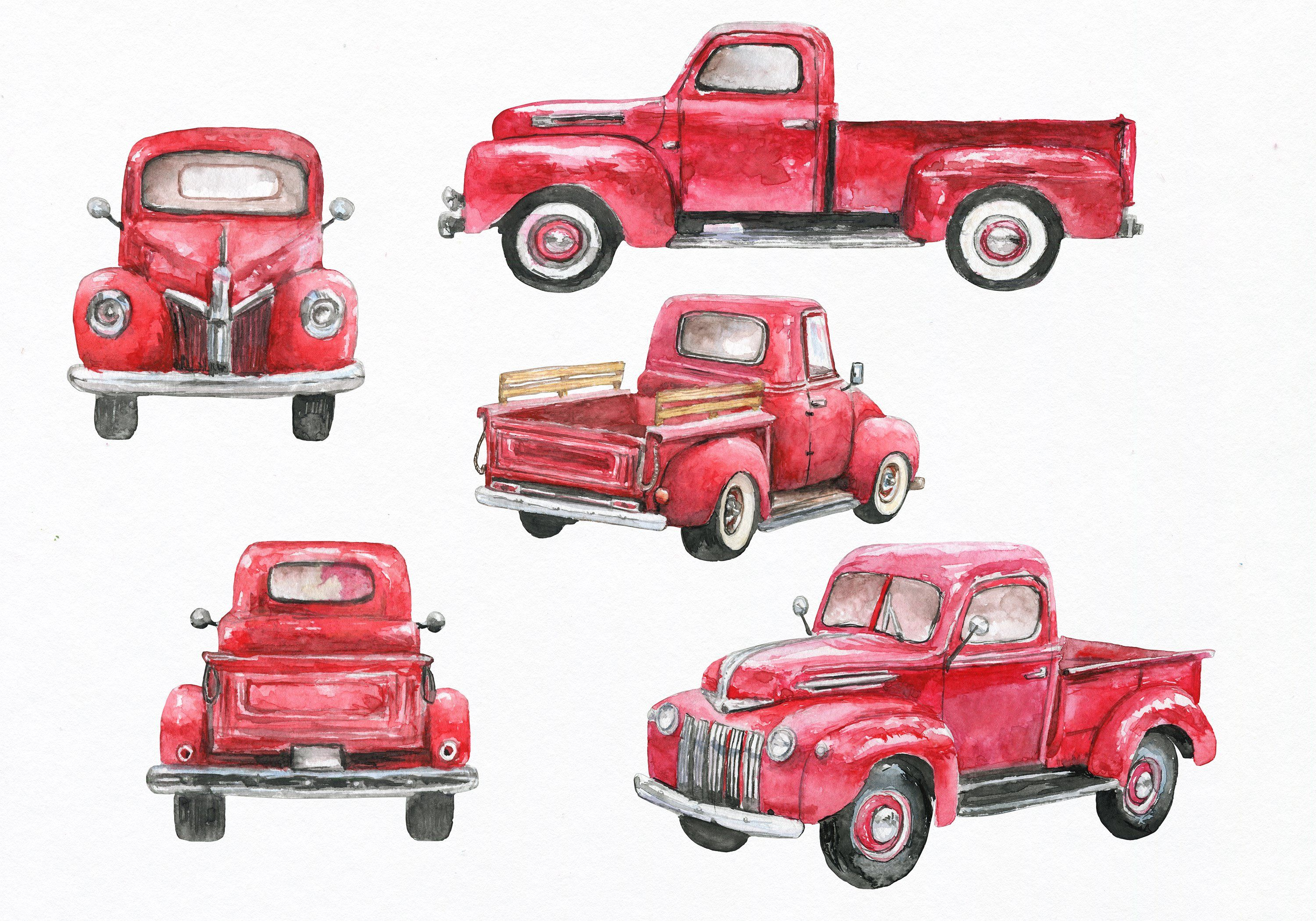 Vintage mint holiday truck clipart clip royalty free download Red truck clipart. Watercolor by EphrazyDesign on ... clip royalty free download
