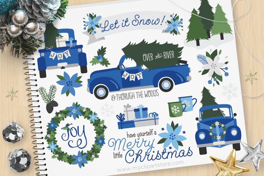 Vintage mint holiday truck clipart vector free Blue Christmas Truck Clipart + SVG vector free