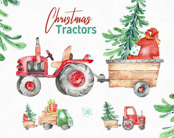 Vintage mint holiday truck clipart black and white library Christmas Tractors. Watercolor holiday country clipart ... black and white library