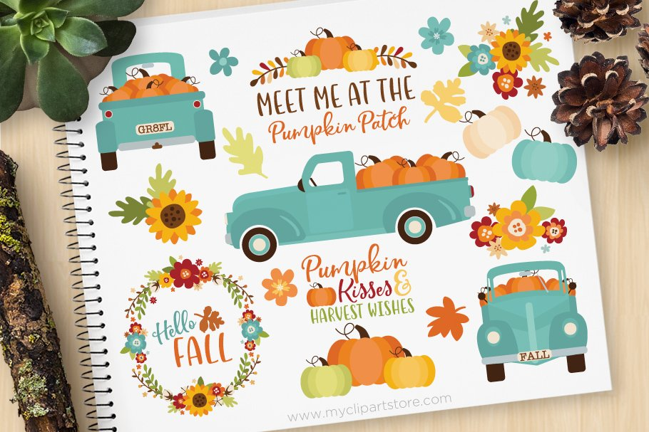Vintage mint holiday truck clipart clip royalty free download Teal Pumpkin Truck Clipart + SVG clip royalty free download