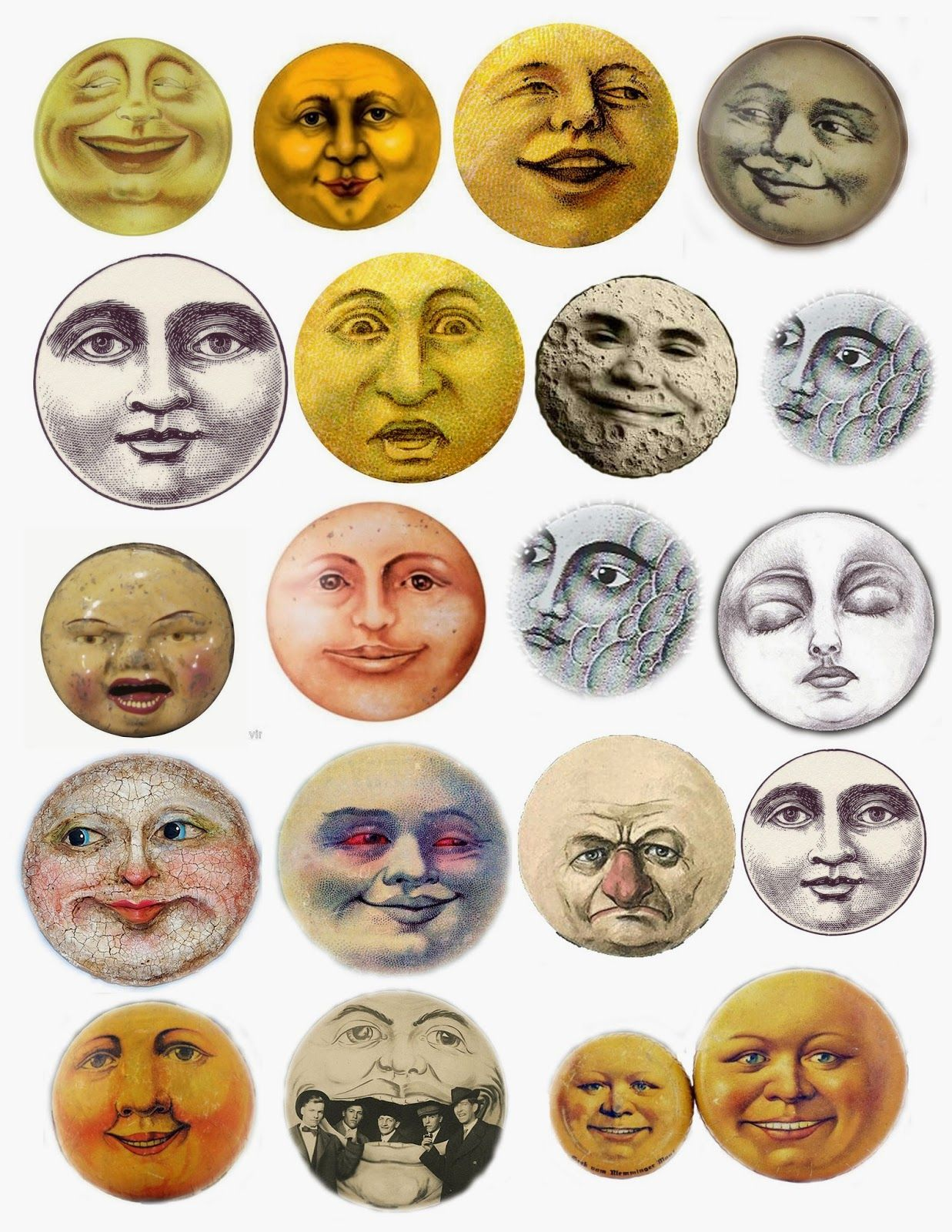 Vintage moonface clipart banner freeuse library Moon Faces Collage Sheet - free printable | clipart ... banner freeuse library