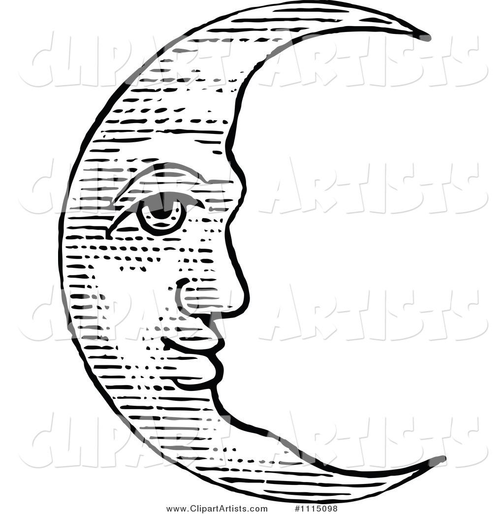 Vintage moonface clipart