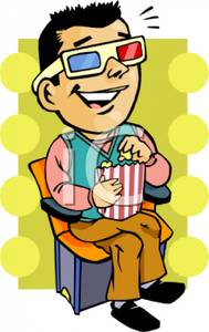 Vintage movie popcorn free clipart graphic freeuse stock A Colorful Vintage Style Cartoon of a Man At 3d Movie Eating ... graphic freeuse stock