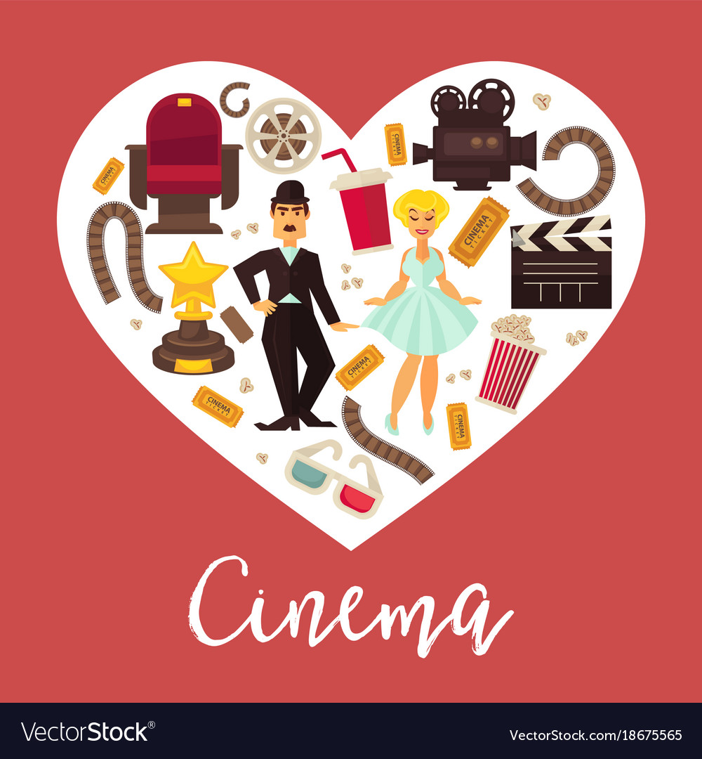 Vintage movie poster clipart banner freeuse library Retro cinema movie poster flat heart banner freeuse library