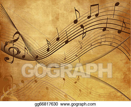 Vintage music note clipart png royalty free library Vector Art - Vintage background with music . EPS clipart ... png royalty free library