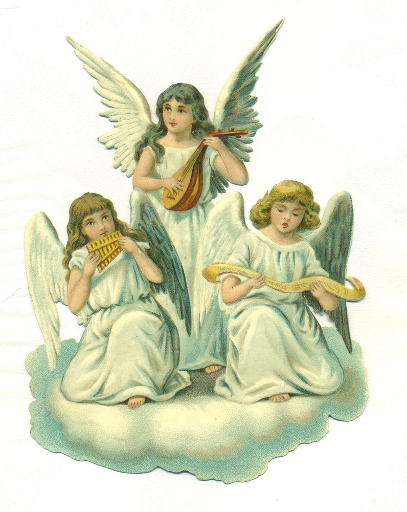 Vintage musical christmas angels clipart freeuse download large victorian scrap angels making music | Christmas Angels ... freeuse download