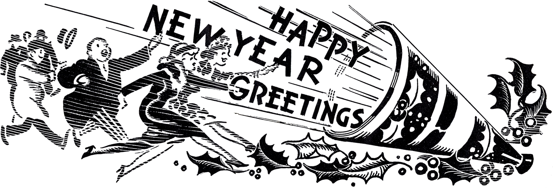Vintage new year clipart banner royalty free 10 Black and White New Year Clipart - The Graphics Fairy banner royalty free