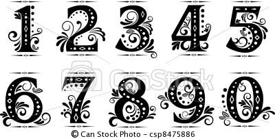 Vintage numbers clipart clipart freeuse stock Vector - Vintage digits and numbers - stock illustration ... clipart freeuse stock