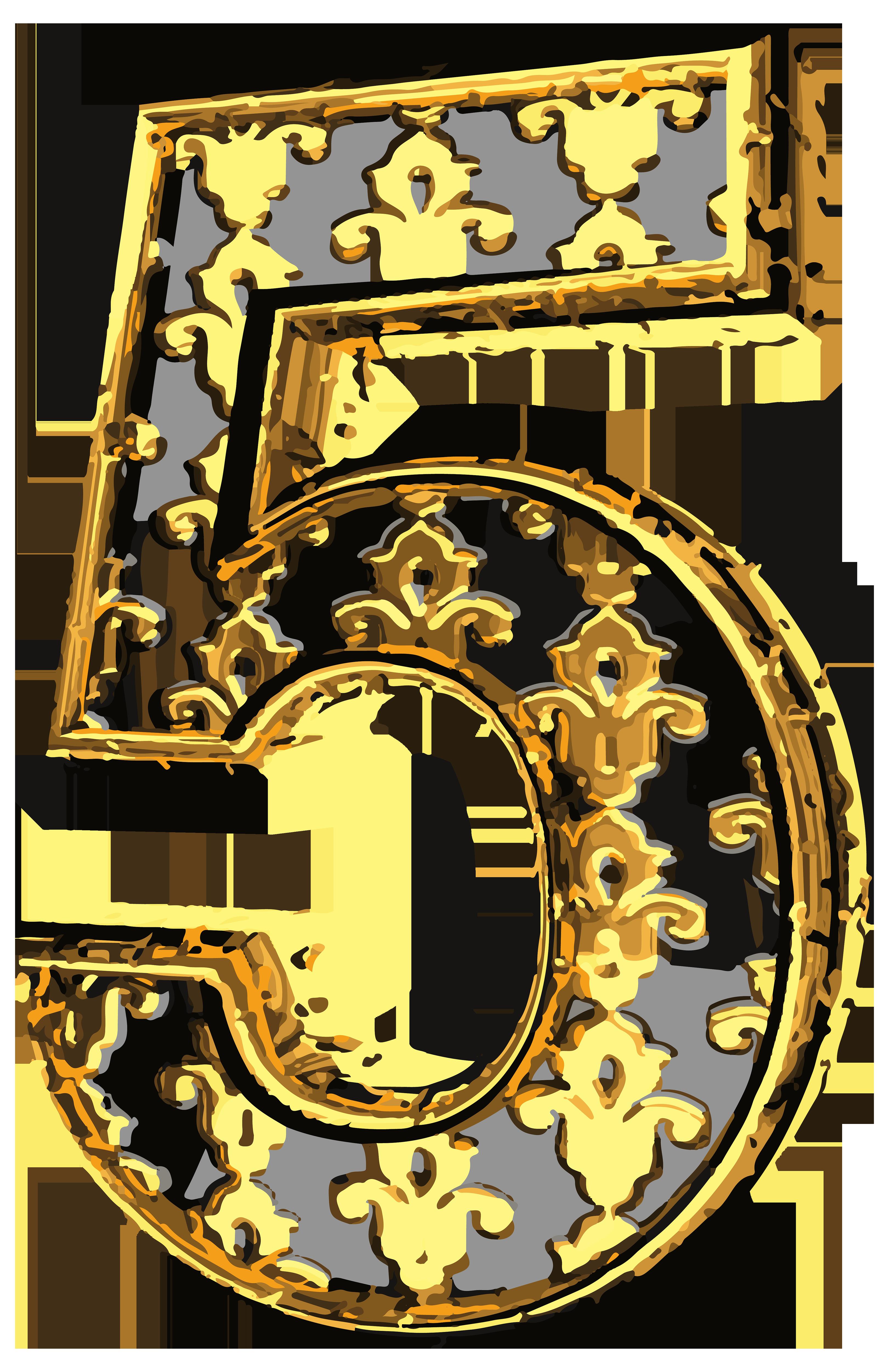 Vintage numbers clipart png royalty free download Elegant Vintage Number Five PNG Clip Art Image | Gallery ... png royalty free download