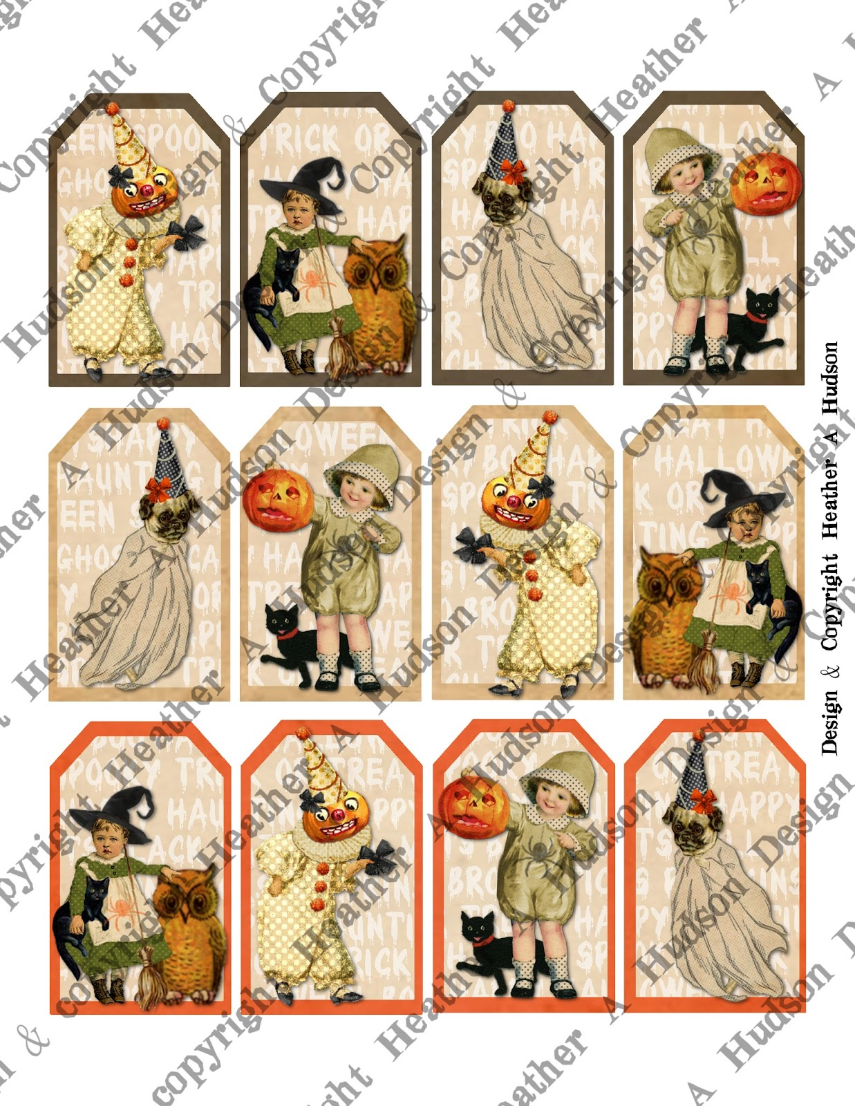 Vintage october clipart clip black and white stock Heather A Hudson: Super Cute Vintage Halloween Tags clip black and white stock