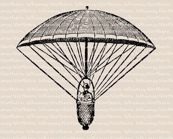 Vintage parachute clipart graphic freeuse library Vintage Parachute Clip Art - Victorian Parachute ... graphic freeuse library
