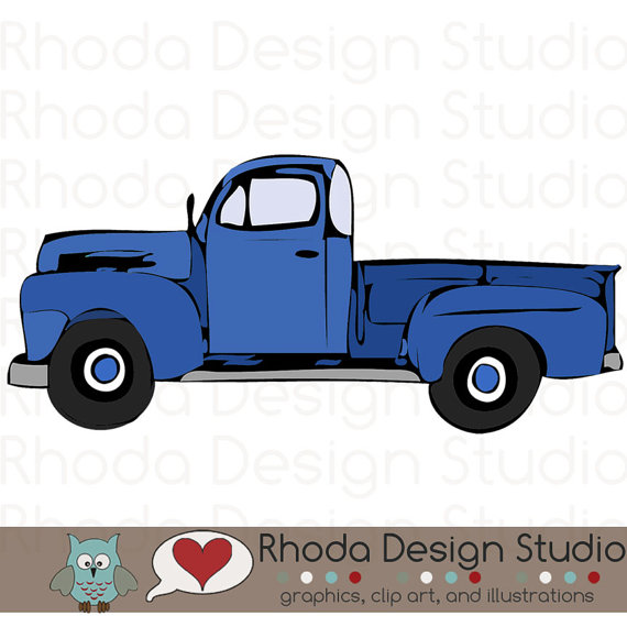 Vintage pickup truck bed black and white clipart png free download Vintage Pickup Truck Full Side Stamp Digital Clip Art Retro ... png free download