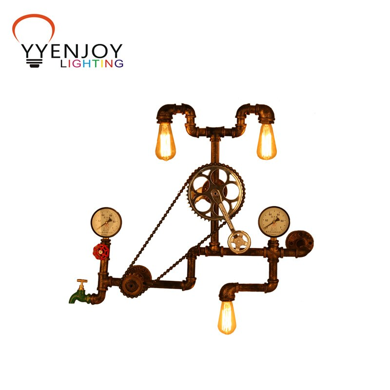 Vintage pipe lamps clipart graphic free Wall Light Retro Lamp LED Water Pipe Lights E27 Wood Loft ... graphic free